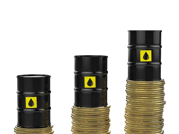 Ölpreisanstiegskonzept mit 3d-rendering-rohölfässern mit goldmünzen