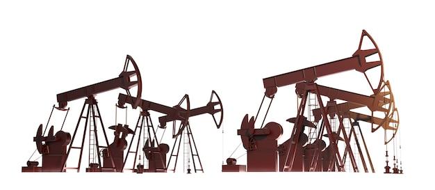 Ölpumpe 3d-rendering erdölindustrie ausrüstung auf weißem hintergrund ölfeld entwicklung isoliert