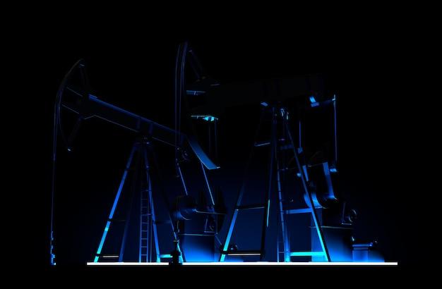 Ölpumpe silhouette 3d-rendering erdölindustrie ausrüstung bei nacht ölfeld entwicklung