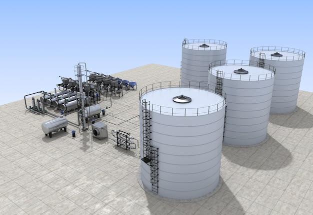 Ölraffinerie, chemische produktion, abfallverarbeitungsanlage, außenvisualisierung, 3d-rendering