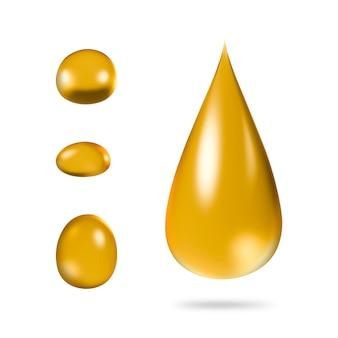Öltropfen getrennt auf reinem weiß