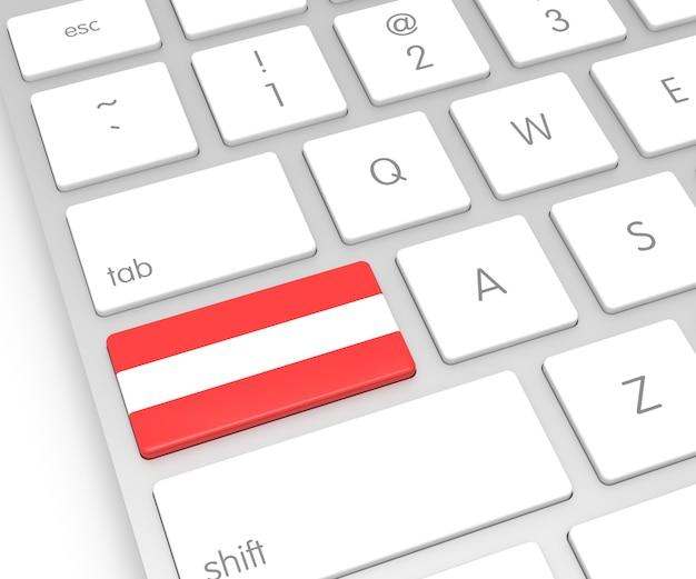 Österreich-flagge auf computerschlüssel. 3d-rendering