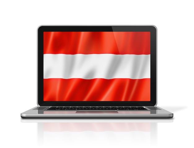 Österreich-flagge auf laptop-bildschirm isoliert auf weiss. 3d-darstellung rendern.