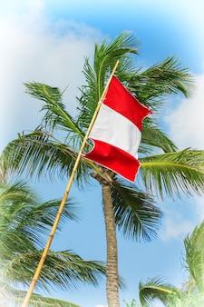 Österreich-flagge weht im wind auf einem blauen himmelshintergrund extreme nahaufnahme.