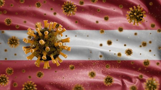Österreichische wellenflagge und coronavirus-mikroskopvirus