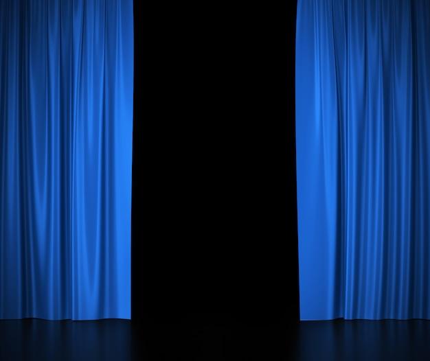 Offene blaue seidenvorhänge für licht im theater und kino in der mitte.