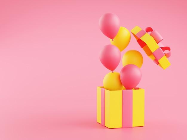 Offene geschenkbox mit fliegenden ballons 3d-rendering