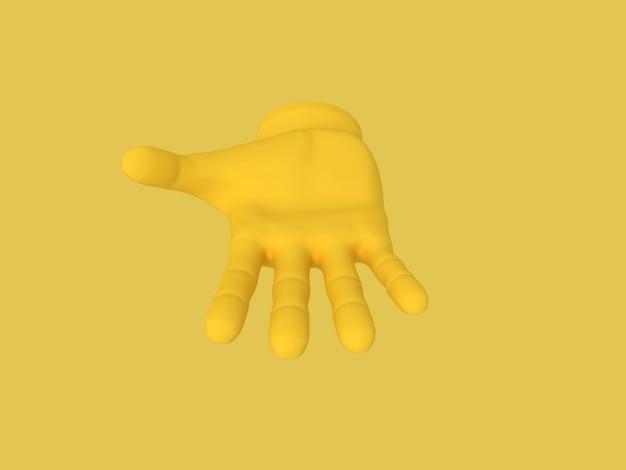 Offene handfläche der karikatur illustration auf gelbem farbhintergrund 3d gerendert