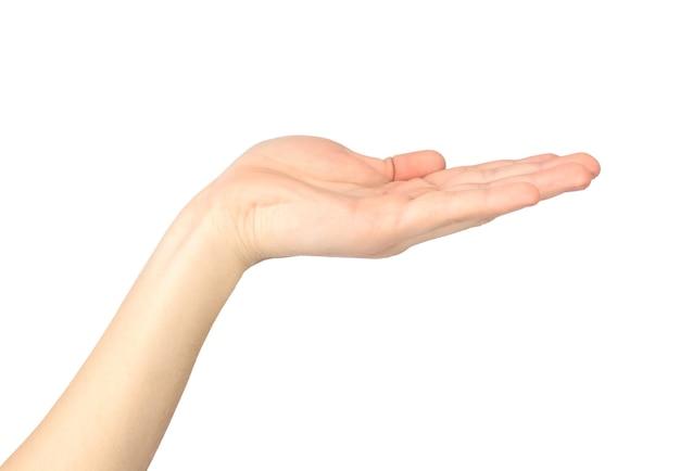 Offene handfläche isoliert auf weißem hintergrund