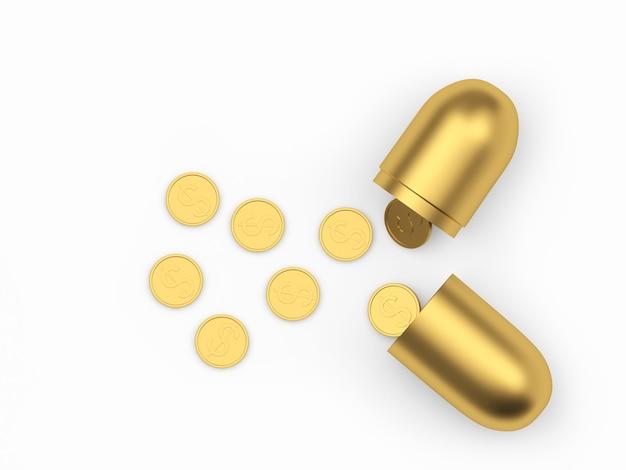Offene medizinische goldkapsel mit verstreuten dollarmünzen