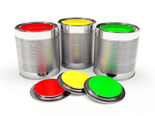 Offene metalldosen mit bunten farben