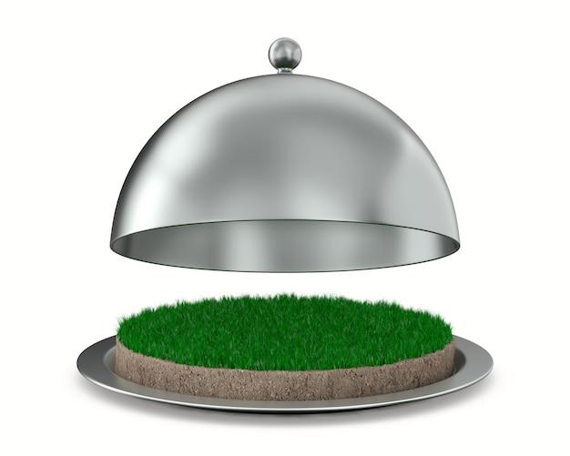 Offene metallische cloche und runder bodenboden mit grünem gras auf weißem hintergrund. isolierte 3d-darstellung