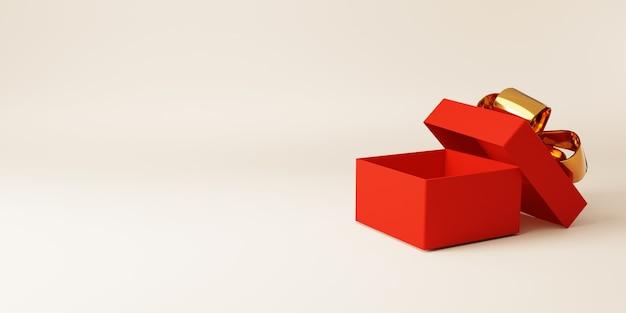 Offene rote geschenkbox mit goldenem band für jubiläumsgeburtstag, frohe weihnachten und frohes neues jahr-konzept, 3d-rendering-technik.