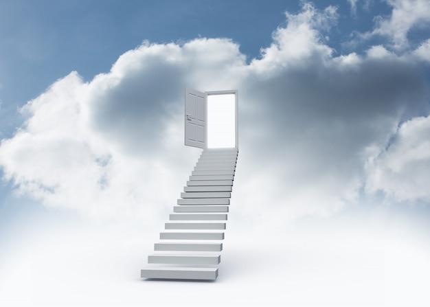 Offene tür oben an der treppe im himmel