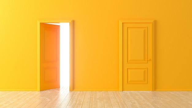 Offene und geschlossene orangefarbene türen vor einem raum mit holzboden. isolierter leerer raum