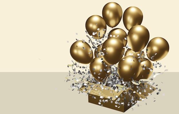 Offener karton mit herausschwebenden goldenen luftballons