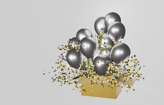 Offener karton mit herausschwimmenden silbernen luftballons
