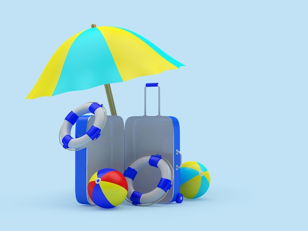 Offener reisekoffer mit strandzubehör unter einem sonnenschirm a