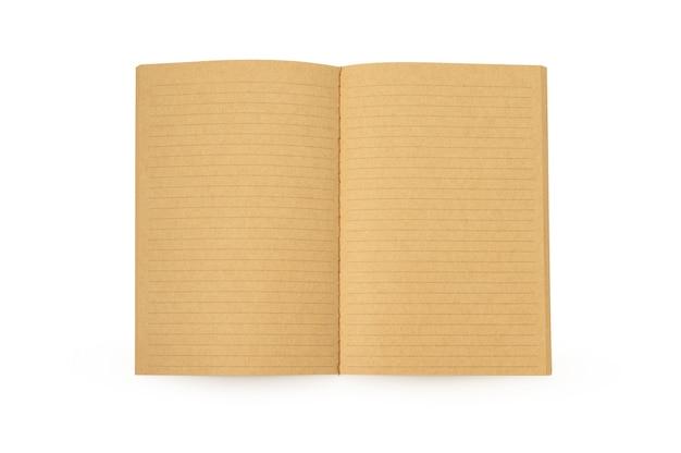 Offenes braunes notizbuch auf isoliertem weißem hintergrund