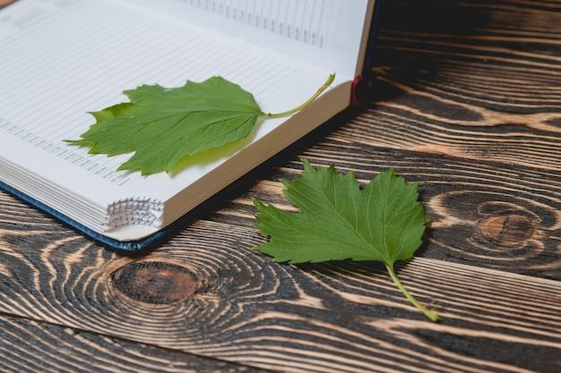 Offenes buch auf hölzernem schreibtisch mit autumn leaves close oben.