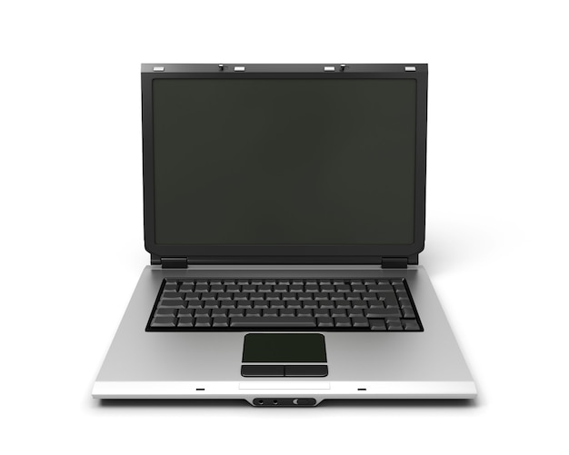 Offenes laptop-notizbuch der 3d illustration lokalisiert auf weiß.