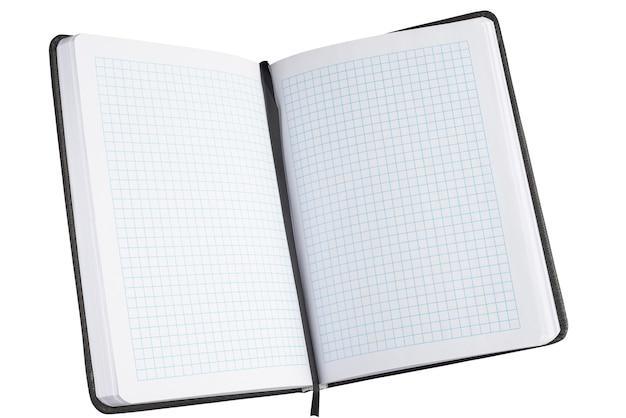 Offenes notebook, tagebuch auf weißem hintergrund..
