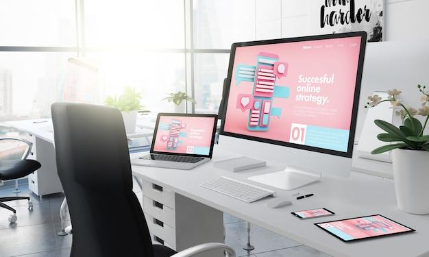 Office desktop 3d-rendering mit digitaler marketing-website auf dem bildschirm