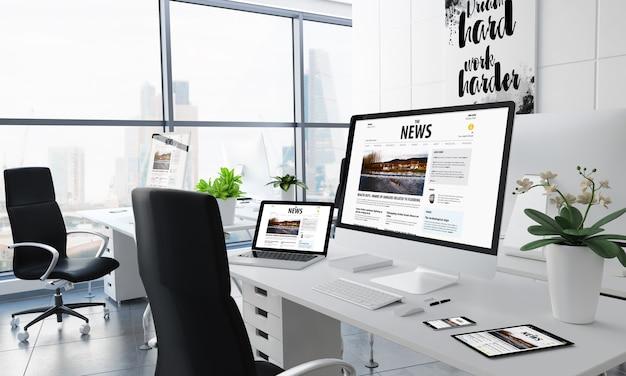 Office desktop 3d-rendering mit nachrichten-website auf dem bildschirm