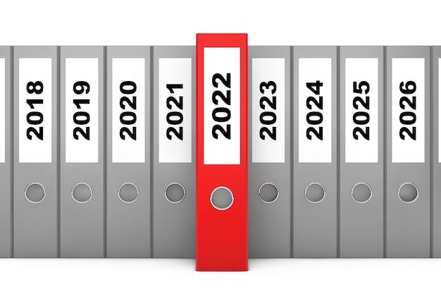 Office-ordner mit neujahr 2022 zeichen auf weißem hintergrund. 3d-rendering