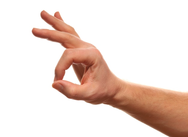 Okay handzeichen isoliert auf weiß