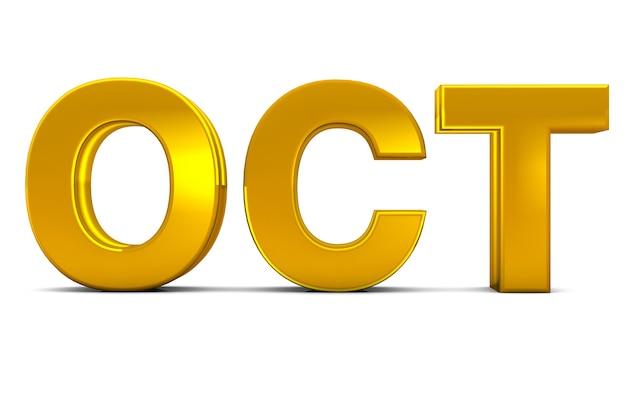 Okt gold 3d text oktober monat abkürzung isoliert auf weißem hintergrund 3d rendern.