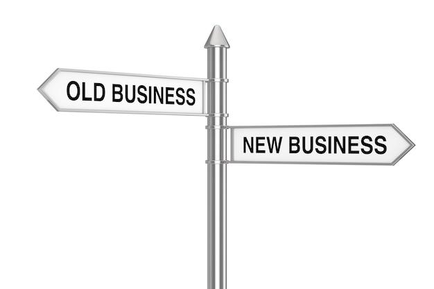 Old und new business direction arrows road sign auf weißem hintergrund. 3d-rendering