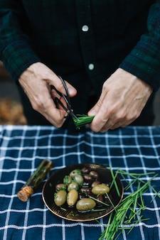 Oliven und schnittlauch