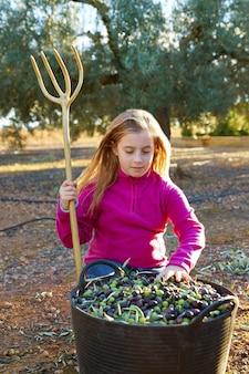 Olivenerntelandwirtkindermädchensammeln