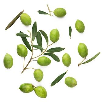 Olivenfrucht und olivenblätter auf weißer oberfläche