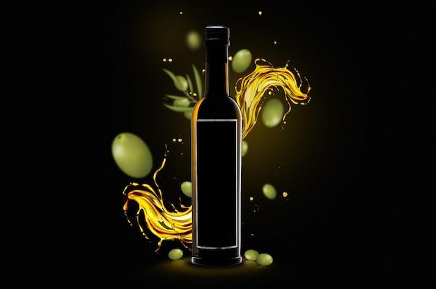 Olivenöl-flaschenkonzept mit leerem lebel