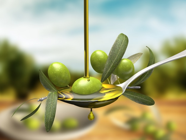Olivenölstrahl über einem ölzweig in einem löffel