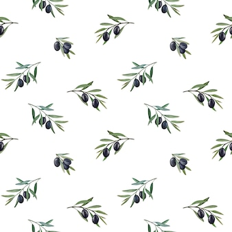 Olivenzweige mit nahtlosem muster des aquarells der schwarzen oliven.