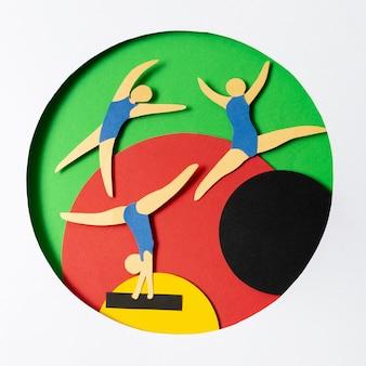 Olympische anordnung im papierstil