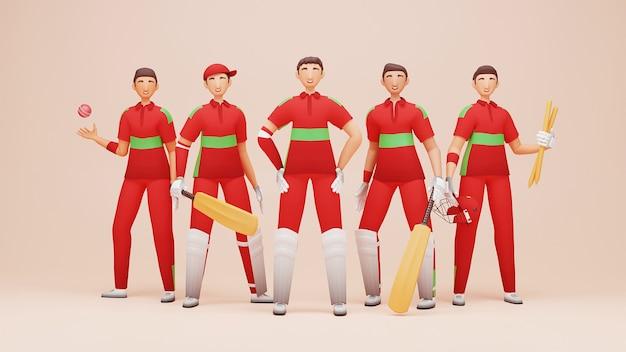 Oman cricket-teamspieler mit turnierausrüstung in 3d-rendering.