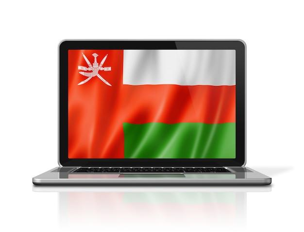 Oman-flagge auf dem laptopbildschirm lokalisiert auf weiß. 3d-darstellung rendern.