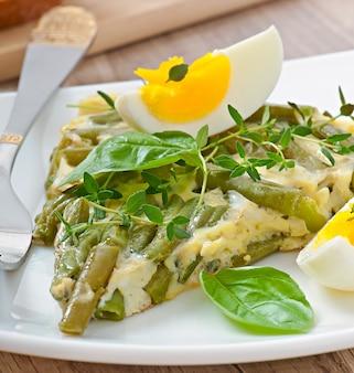 Omelett mit grünen bohnen