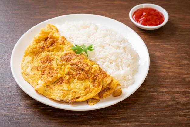 Omelett oder omelett mit reis