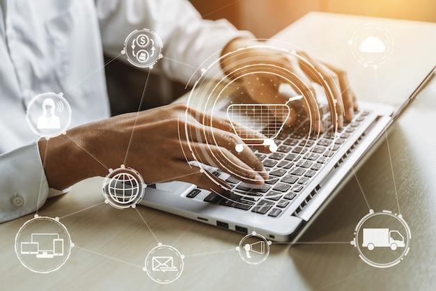 Omni-channel-technologie des online-einzelhandels.