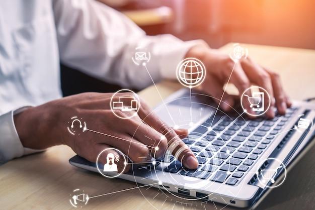 Omni-channel-technologie des online-handels.
