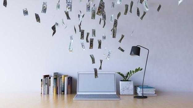 On-line-arbeiten am laptop-computer, der einkommen verdient