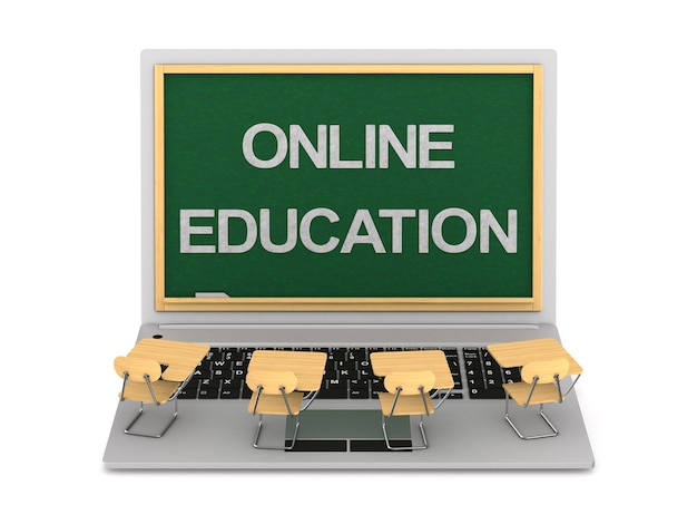 Online-bildung auf weiß.