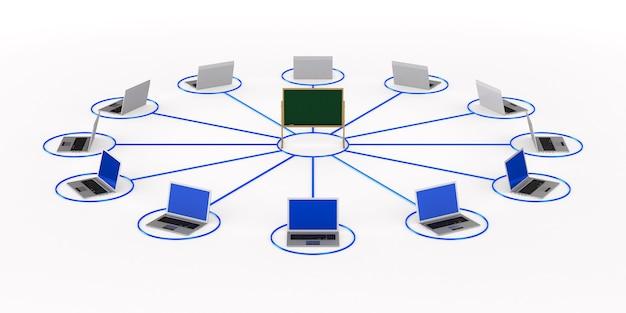 Online-bildung. isoliertes 3d-rendering