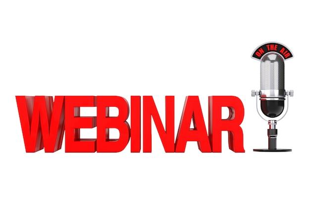 Online-bildungskonzept. rotes webinar-schild mit mikrofon und on the air-schild auf weißem hintergrund. 3d-rendering