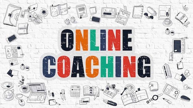 Online-coaching-konzept. moderne linienart-illustration. mehrfarbiges online-coaching auf weißer backsteinmauer gezeichnet. doodle-symbole. doodle-design-stil des online-coaching-konzepts.